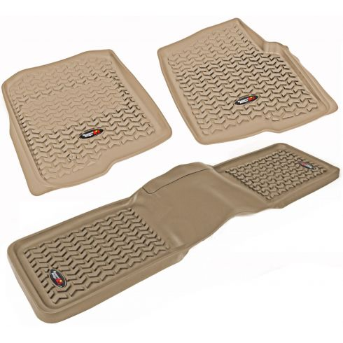 04-08 Ford F150 Tan Front & Rear Floor Liner Kit (Set of 3) (Rugged Ridge)