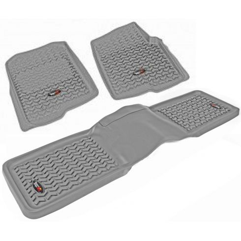 04-08 Ford F150 Gray Front & Rear Floor Liner Kit (Set of 3) (Rugged Ridge)