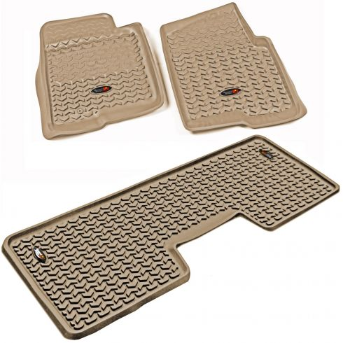 09-10 Ford F150 w/1 Hook Tan Front Floor Liner SET (Rugged Ridge)