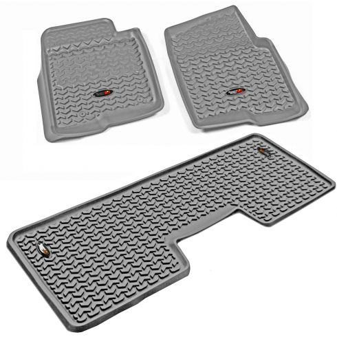 11-14 Ford F150 w/1, 2 Hook Gray Front & Rear Floor Liner (Set of 3) (Rugged Ridge)