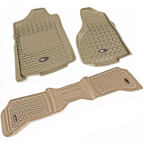 02-11 Ram 1500; 03-11 2500, 3500 w/1 Hook Tan Front & Rear Floor Liner (Set of 3) (Rugged Ridge)