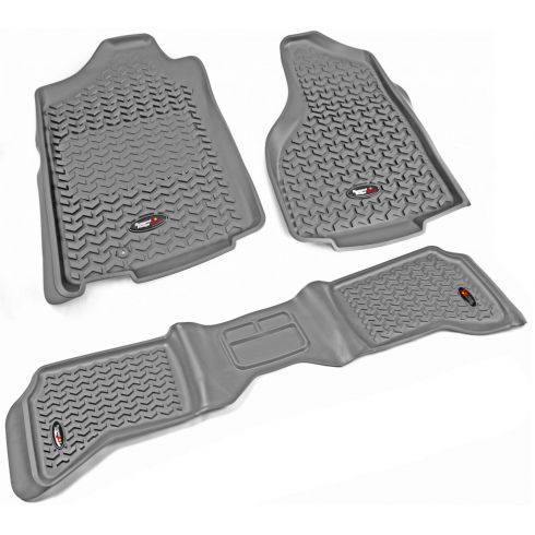 02-11 Ram 1500; 03-11 2500, 3500 w/1 Hook Gray Front & Rear Floor Liner (Set of 3) (Rugged Ridge)