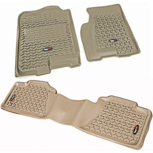 99-07 GM Fullsize Pickup & SUV Tan Front & Rear Floor Liner (Set of 3) (Rugged Ridge)