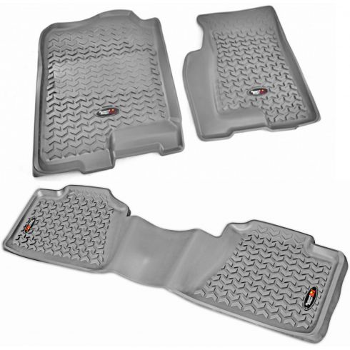 99-07 GM Fullsize Pickup & SUV Gray Front & Rear Floor Liner (Set of 3) (Rugged Ridge)