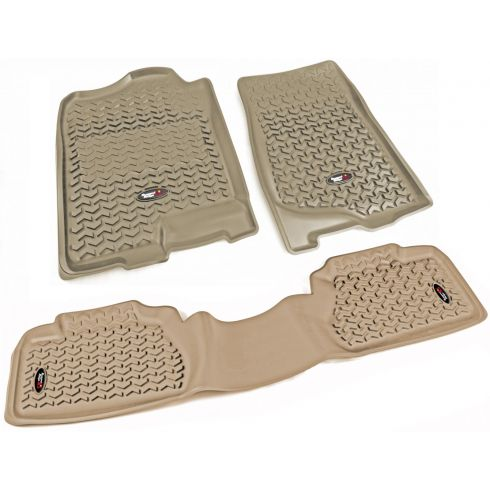 07-13 Chevy, GMC Fullsize Pickup Ext Cab Tan Front & Rear Floor Liner (Set of 3) (Rugged Ridge)