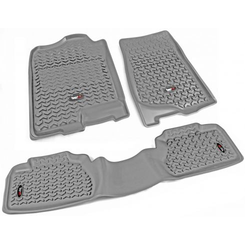 07-13 Chevy, GMC Fullsize Pickup Ext Cab Gray Front & Rear Floor Liner (Set of 3) (Rugged Ridge)