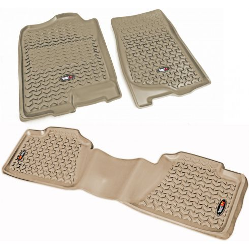 07-14 GM Fullsize Crew Cab Pickup Tan Front & Rear Floor Liner (Set of 3) (Rugged Ridge)