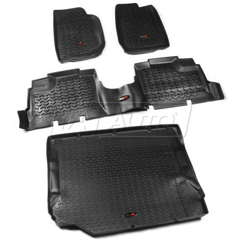 07-10 Jeep Wrangler 4 Door Front, Rear, & Cargo Black Floor Liner (Set of 4) (Rugged Ridge)