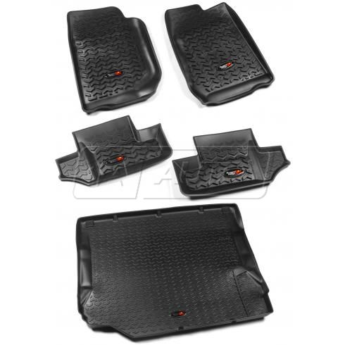 07-10 Jeep Wrangler 2 Door Front, Rear, & Cargo Black Floor Liner (Set of 5) (Rugged Ridge)