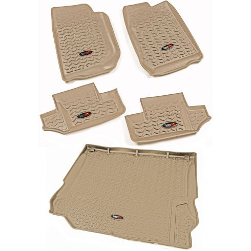 07-10 Jeep Wrangler 2 Door Front, Rear, & Cargo Tan Floor Liner (Set of 5) (Rugged Ridge)