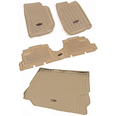 11-13 Jeep Wrangler 4 Door Front, Rear, & Cargo Tan Floor Liner (Set of 4) (Rugged Ridge)
