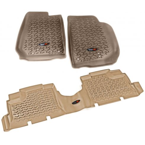14 Jeep Wrangler 4 Door Front & Rear Tan Floor Liner (Set of 3) (Rugged Ridge)