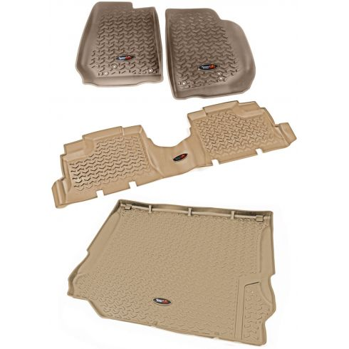 14 Jeep Wrangler 4 Door Front, Rear, & Cargo Tan Floor Liner (Set of 4) (Rugged Ridge)
