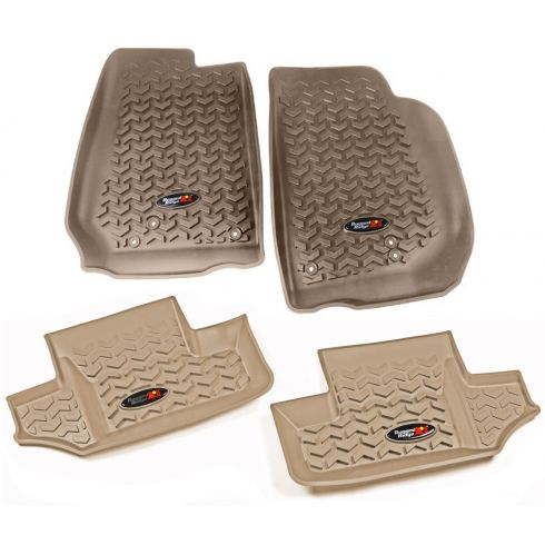 14 Jeep Wrangler 2 Door Front & Rear Tan Floor Liner (Set of 4) (Rugged Ridge)