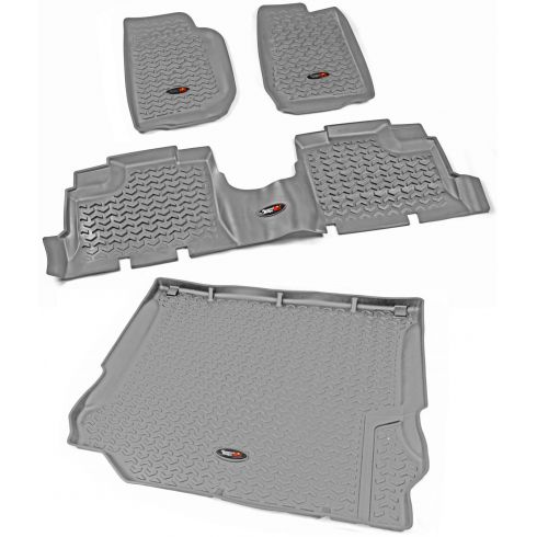 07-10 Jeep Wrangler 4 Door Front, Rear, & Cargo Gray Floor Liner (Set of 4) (Rugged Ridge)