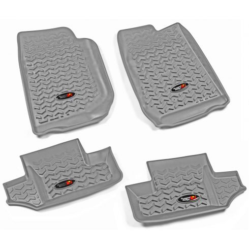 07-13 Jeep Wrangler 2 Door Front & Rear Gray Floor Liner (Set of 4) (Rugged Ridge)