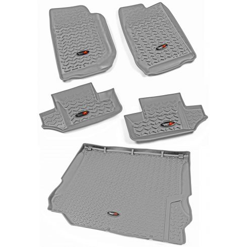07-10 Jeep Wrangler 2 Door Front, Rear, & Cargo Gray Floor Liner (Set of 5) (Rugged Ridge)