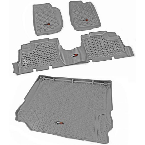 11-13 Jeep Wrangler 4 Door Front, Rear, & Cargo Gray Floor Liner (Set of 4) (Rugged Ridge)
