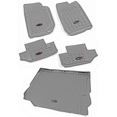 11-13 Jeep Wrangler 2 Door Front, Rear, & Cargo Gray Floor Liner (Set of 5) (Rugged Ridge)