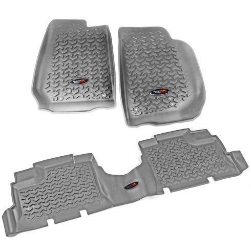 14 Jeep Wrangler 4 Door Front & Rear Gray Floor Liner (Set of 3) (Rugged Ridge)
