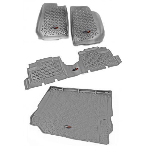 14 Jeep Wrangler 4 Door Front, Rear, & Cargo Gray Floor Liner (Set of 4) (Rugged Ridge)