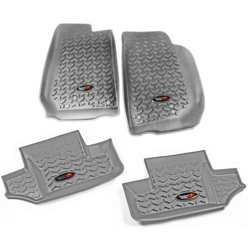 14 Jeep Wrangler 2 Door Front & Rear Gray Floor Liner (Set of 4) (Rugged Ridge)