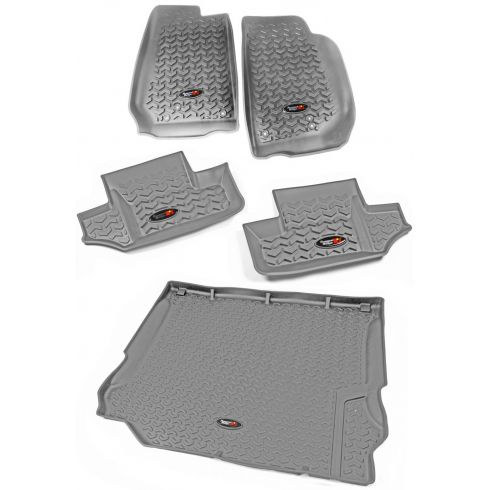14 Jeep Wrangler 2 Door Front, Rear, & Cargo Tan Floor Liner (Set of 5) (Rugged Ridge)