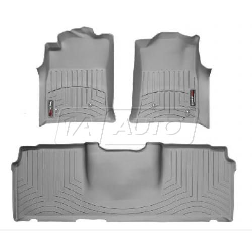 Gray Tacoma Double Cab 05+ (With 2 retention hooks) Floor Liner Set