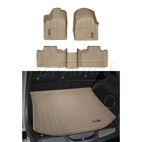 2011- Jeep Grand Cherokee Tan Front, Rear, Cargo Floor Liner Set