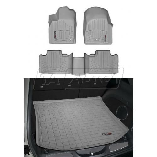 2011- Jeep Grand Cherokee Gray Front, Rear, Cargo Floor Liner Set