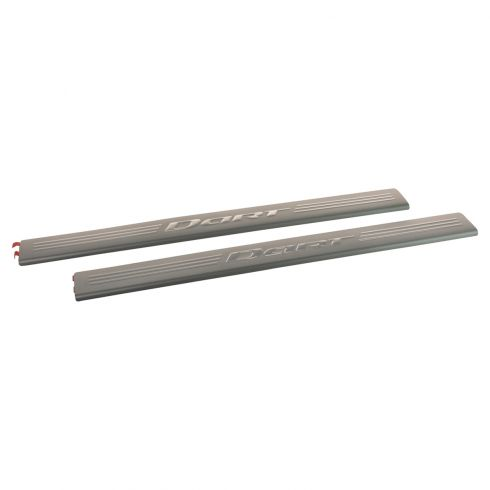 13-17 Dodge Dart Stainless Steel ~DART~ Logoed Adhesive Door Sill Entry Guard PAIR (MP)