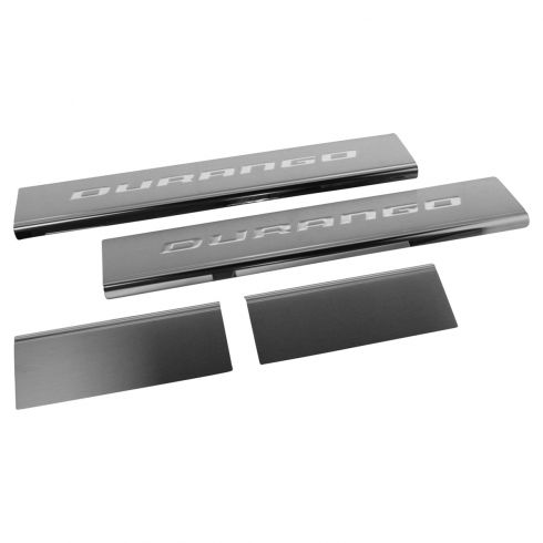 11-16 Durango Stainless Steel ~DURANGO~ Logoed Adhesive Door Sill Entry Guard Kit (Set of 4) (Mopar)