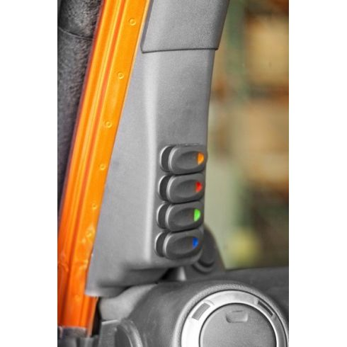 11-14 Jeep Wrangler w/LHD Textured Gray Inner A-Pillar 4 Switch Pod Kit LH