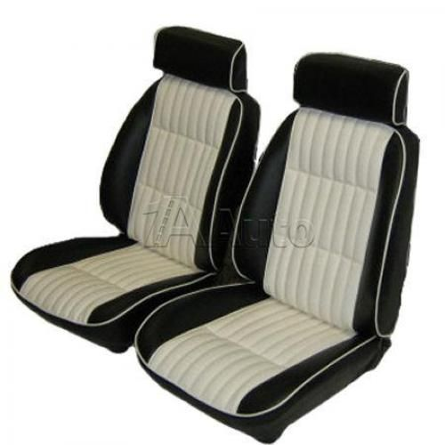1982-1987 El Camino European Reclining Bucket Seat Upholstery with Head Rests 2 Tone Vinyl with White Inserts and White Piping