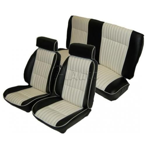 1982-1987 GM G Body European Reclining Bucket Seat Upholstery with Head Rests 2 Tone Vinyl with White Inserts and White Piping