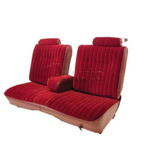 1981-87 El Camino Caballero Seat Upholstery Straight Bench Seat with 9 Pleats Head Rests & Center Armrest in Cloth & Vinyl