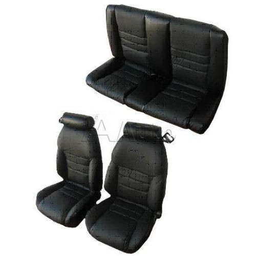 1996-98 Ford Mustang Seat Upholstry Set Convertible Leather For Small Headrests