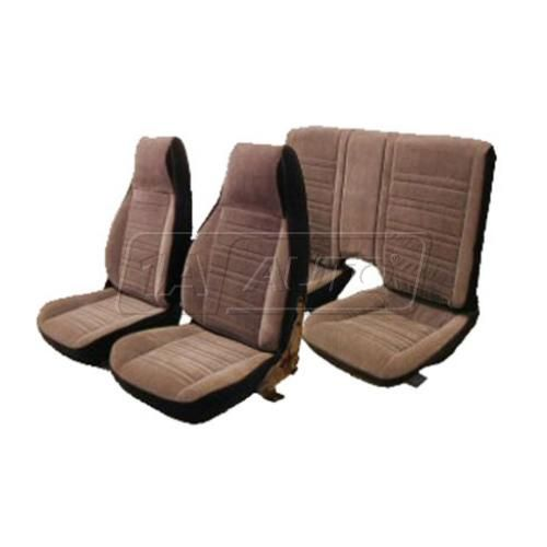Seat Upholstery Set in Encore Velour with Regal Velour Insert for High Back Front & Solid Rear Seat