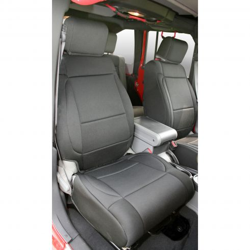 Neoprene Front Seat Covers, Black, 07-10 Jeep Wrangler