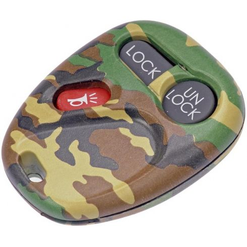 98-04 GM Full Size PU, SUV (3 Button) Green Camo Keyless Rem Case w/Insert (FCC ID: KOBUT1BT) (Dorm)