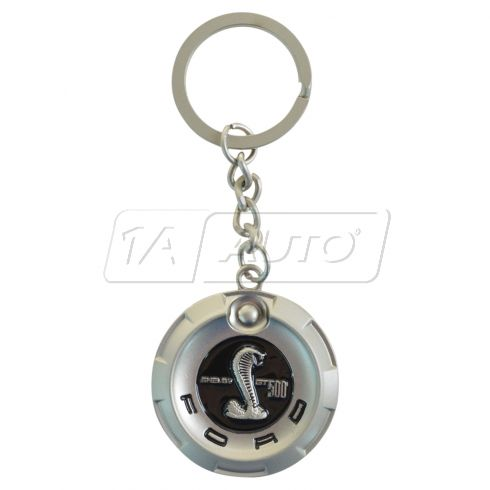 Ford GT500, Shelby Cobra Mustang (Gas Cap Medallion Style) Nickel Key Chain (Ford)
