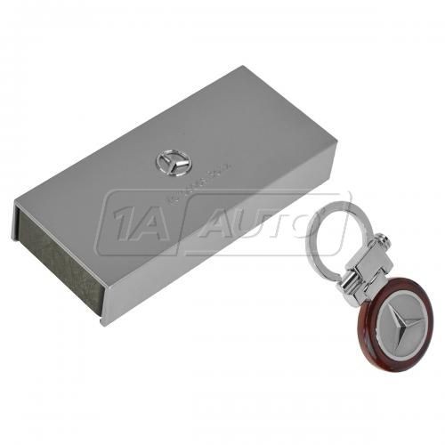 Mercedes Benz Multifit Key Chain w/Spring Mechanism, Chrome Star, & Burlwood Bezel(Mercedes Benz)