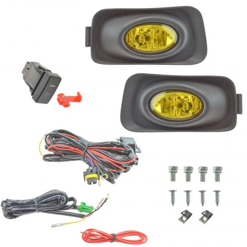 04-05 Acura TSX Add-on Yellow Lens Fog Light Pair w/ Installation Kit
