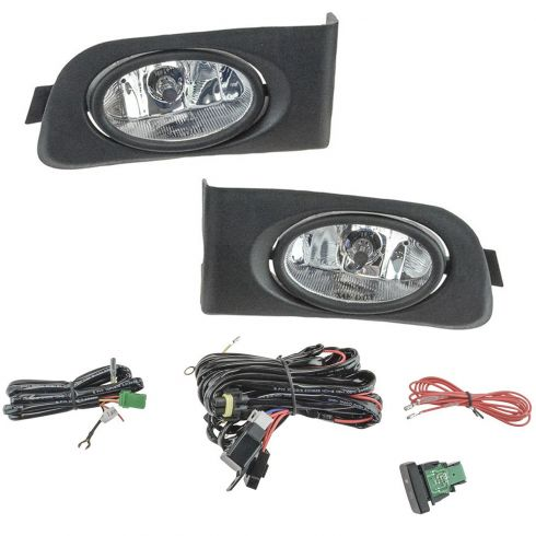 01-03 Honda Civic Coupe & Sedan Add-on Clear Lens Foglight Pair w/ Installation Kit