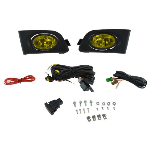 01-03 Honda Civic Coupe & Sedan Add-on Yellow Lens Foglight Pair w/ Installation Kit