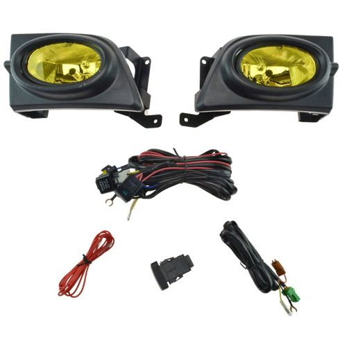 06-08 Honda Civic 4Dr, Hybrid Add-on Yellow Lens Fog Light Pair w/ Install Kit