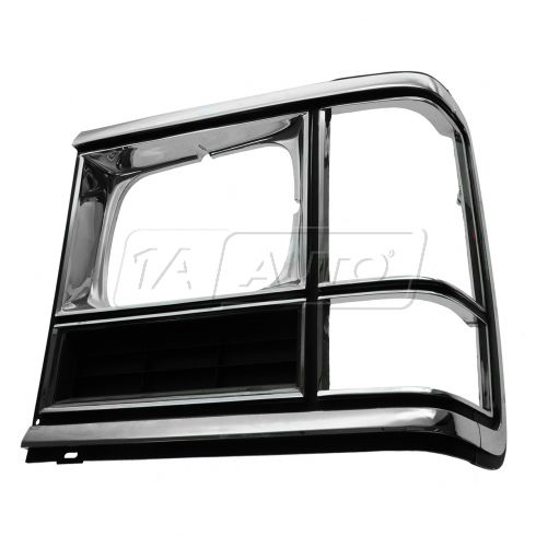 86-93 Dodge Full Size Van (w/Single Rectangulat Headlamp) Chrome & Black Headlight Door Cover LH
