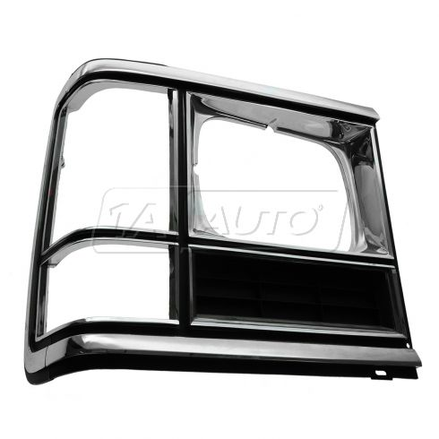 86-93 Dodge Full Size Van (w/Single Rectangulat Headlamp) Chrome & Black Headlight Door Cover RH