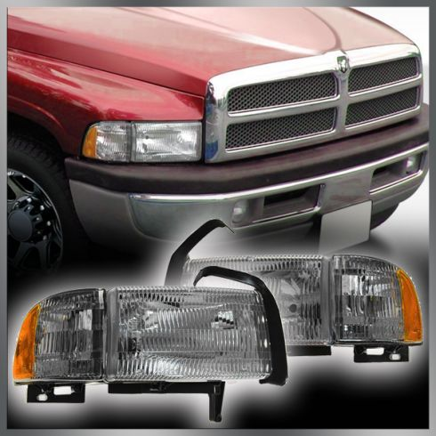 94-01 Dodge PU Headlights w/Marker PAIR