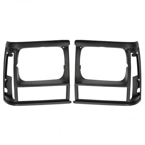 1991-96 Jeep Cherokee Headlight Trim Bezel Black Pair